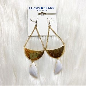Lucky Brand | Gold and white stone earrings